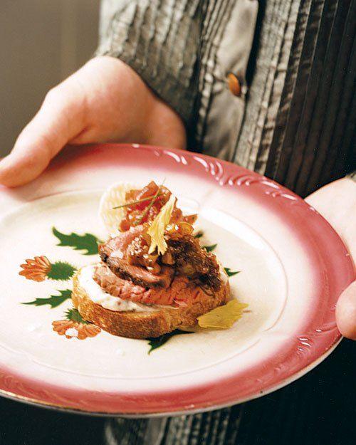 Beef Tenderloin Crostini with Sultana-Port Relish |  Serve on endive leaves for grain-free or low-carb option. |  marthastewart.com