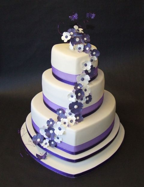 ivory, black, and purple wedding | Ivory & Purple Heart Wedding Cake 2 | Flickr - Photo Sharing!