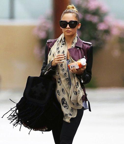 Nicole Richie rocking a leather jacket & skull scarf