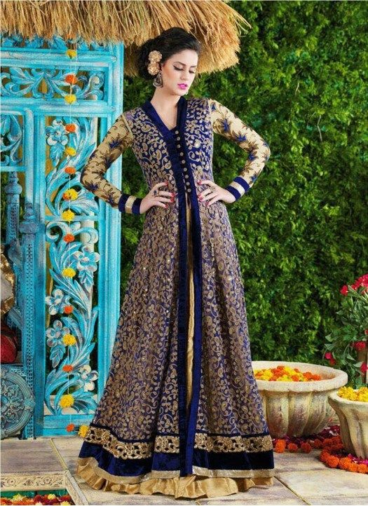 New Blue And Cream Floor Touch Semi Stitched Anarkali Suit