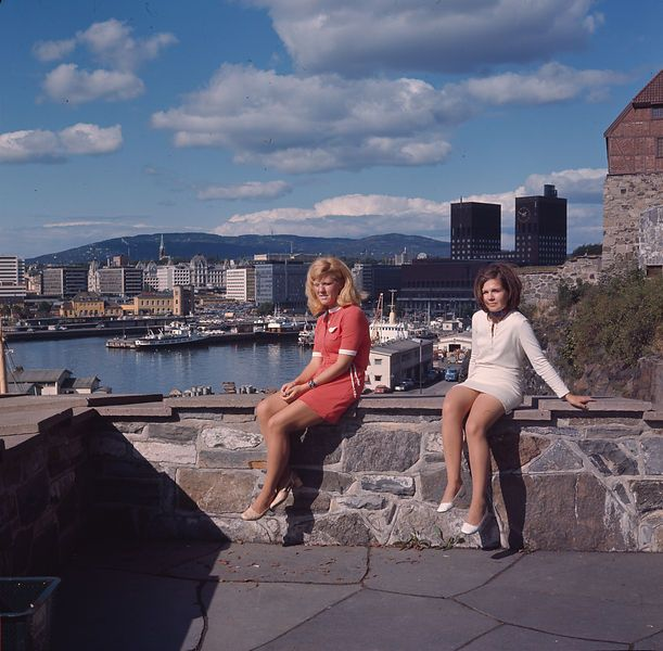Akershus festning, Oslo, Norway. August 1969. View of Rådhuset, Vika and Vestbanen. Photo: Paul A. Røstad / Owner: DEXTRA Photo