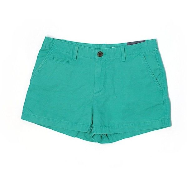 Gap Khaki Shorts ($14) ❤ liked on Polyvore featuring shorts, teal, khaki shorts, cotton shorts, gap shorts and teal shorts