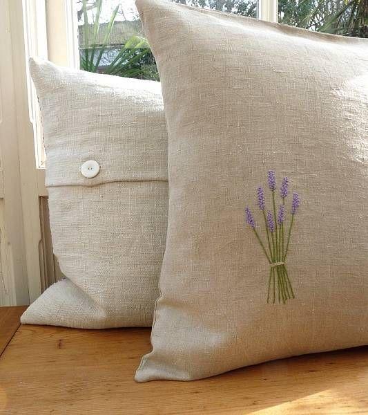 Embroidered Linen pillow shams.