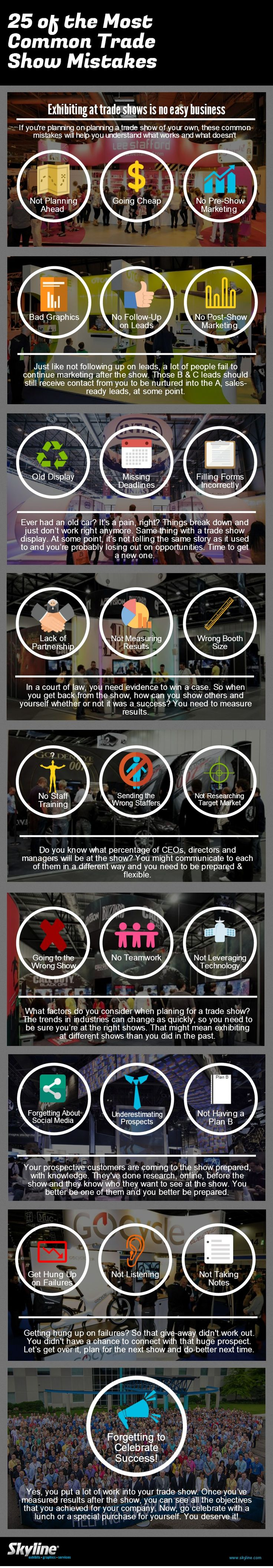 25 of the Most Common Trade Show Mistakes #skylineexhibits #infographic