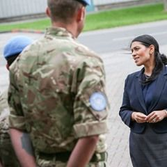 Priti Patel meets soldiers who will shortly be deploying to South Sudan at Catterick Garrison UK