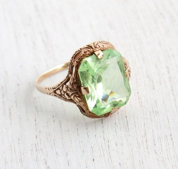 Vintage 10k Rosy Yellow Peridot Green Stone Ring - Art Deco Filigree 1930s Size 7 1/2 Vintage Fine Jewelry / Emerald Cut Light Green by Maejean Vintage on Etsy, $295.00