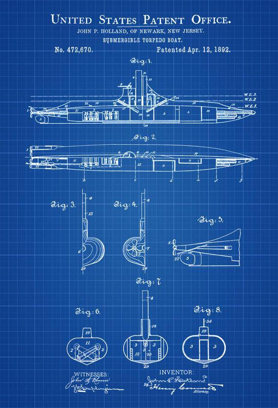 383 best vintage blueprints images on pinterest altered book art submarine patent print vintage submarine submarine blueprint naval art sailor gift nautical decor submarine poster malvernweather Gallery