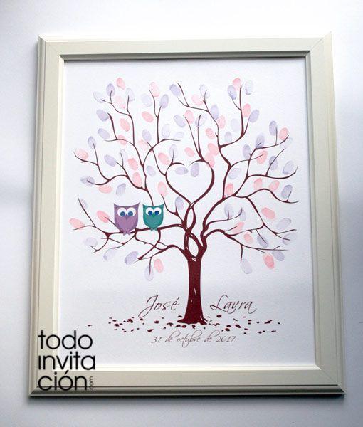 Cuadro de árbol de huellas búhos para que tus invitados de tu boda dejen su huella y su firma. Lámina personalizada con la ilustración del árbol , nombres y fecha de la boda