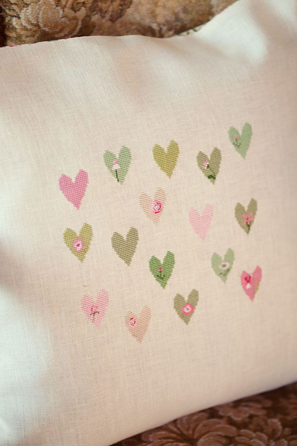 cross stitched hearts