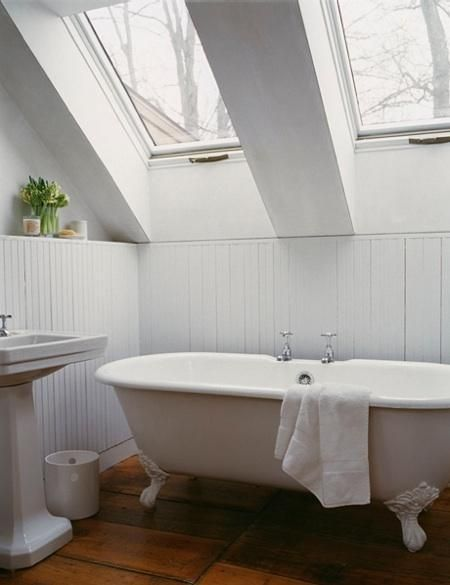 remodelista - clawfoot tub and beadboard.   I will have a tub like this one day! :)