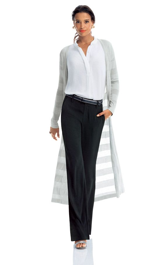 Pay Day – 02 - Such a great look for work or a Sunday brunch. Chic, classic and fabulous. CAbi's Spring '14 City Pant, Nantucket Sweater and Placket Blouse. www.caraforman.cabionline.com