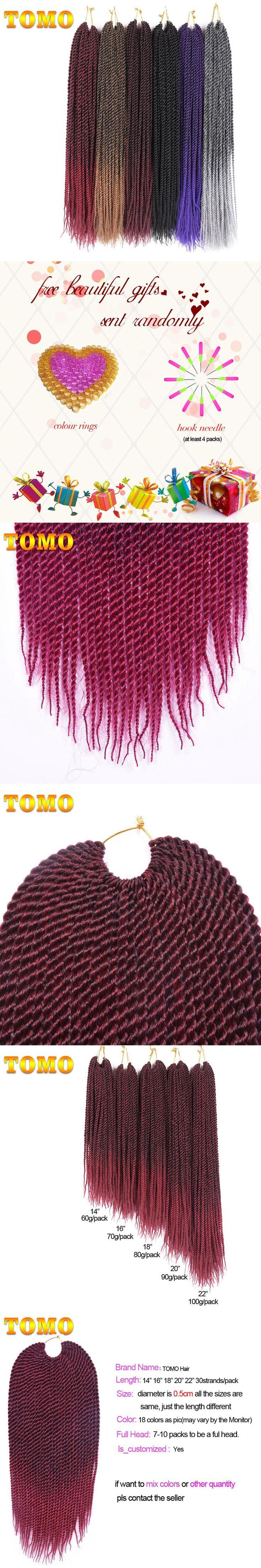 "TOMO Hair 30strands 14"" 16"" 18"" 20"" 22"" Havana Senegalese Twist Crochet Braids Ombre Kanekalon Braiding Hair Extensions 1 Pack"
