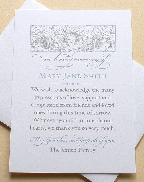 Angels - Sympathy Thank You Cards - Custom - Set of 36 FLAT Cards