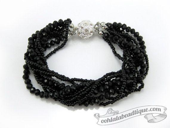 Black Multi strand Crystal bracelet black by OohlalaBeadtique