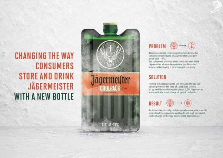 SILVER - JÄGERMEISTER COOLPACK - MAST-JÄGERMEISTER DESIGN  PACKAGING DESIGN  ALCOHOLIC DRINKS ENTERED BY: CHEIL GERMANY, SCHWALBACH https://clios.com/awards/winner/13206