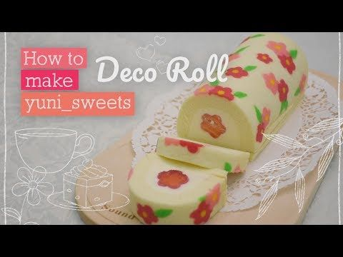 (4) How to make floral design Rollcake!   yunisweets Deco Roll - YouTube