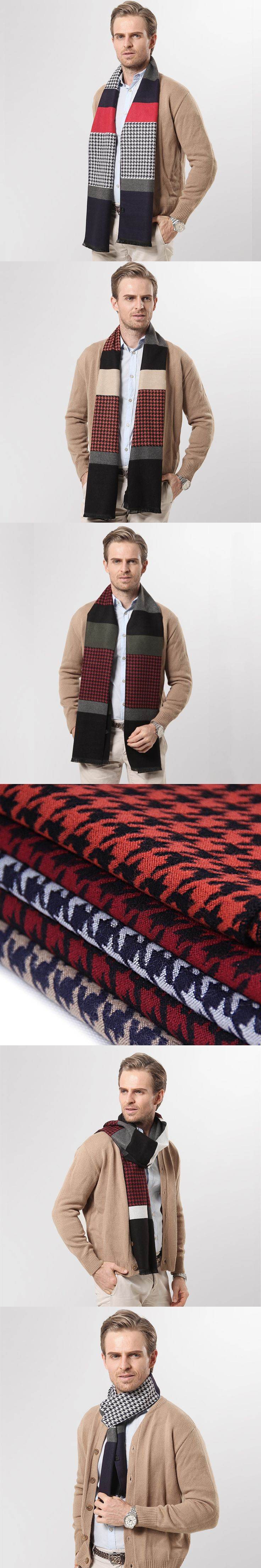 2016 Autumn and Winter Men Scarf Luxury Brand Cashmere Scarf Shawl Winter Warm Houndstooth Plaid Print Business Scarves for Men