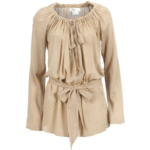 2LOVE TONYCOHEN Tunic Eva Beige (55 NZD) ❤ liked on Polyvore featuring tops, tunics, shirts, sleeve shirt, long sleeve tunic, long sleeve shirts, pleated shirt and smock tops