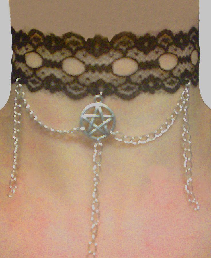 Gothic necklace with pentacle pendant (Collana gotica con pentacolo) (7£) handmade/fatte a mano