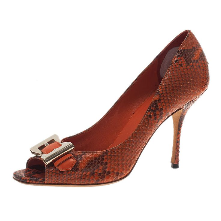 Gucci Orange Python Bow Buckle Peep Toe Pumps Size 37 - Buy & Sell - LC