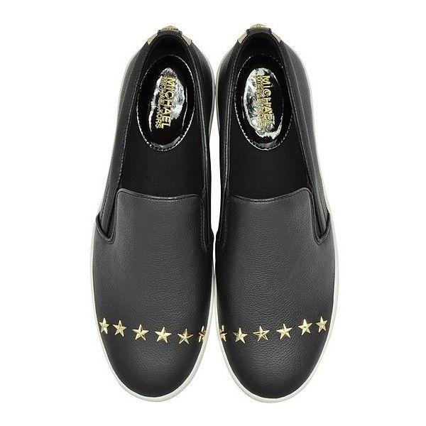 be772b08d16 Michael Kors Designer Shoes Trent Black Leather Embellished Slip On ...