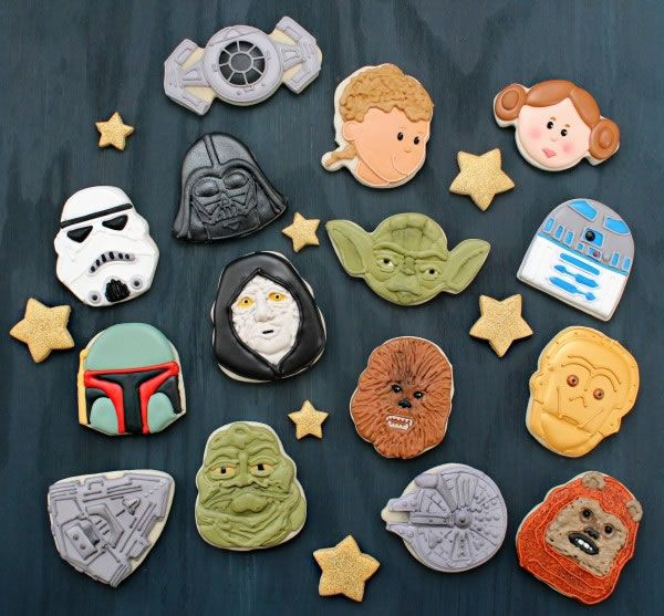 Star Wars cookies from Holiday cookie cutters.