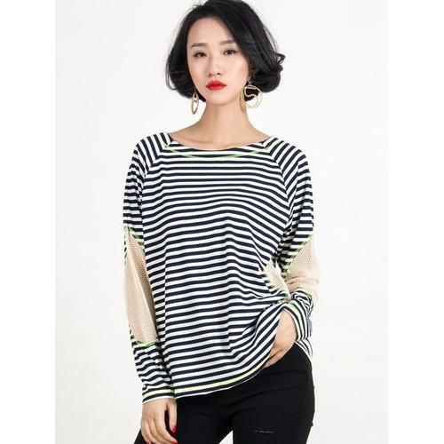 Blue And White Stripe Mesh Panel Long Sleeve T-shirt D902-CW0093