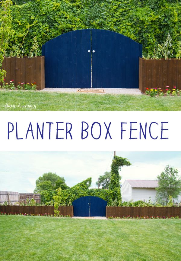 Long planter boxes that act as a fence! I love the color! This DIY project was sponsored by @Thompsonswseal