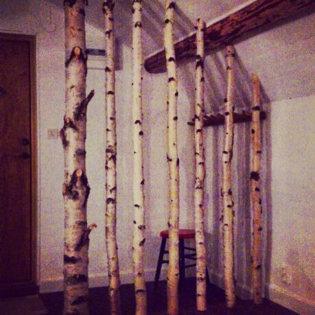 A small room devider in the guest house by the lake. Made of birch.