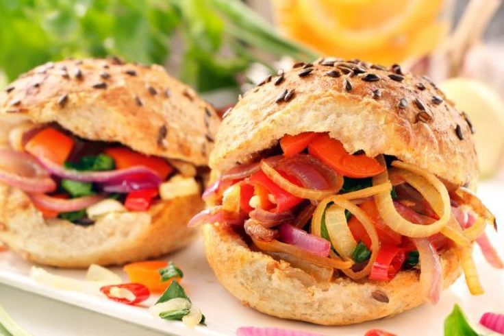 Vegetarian sandwich with fried onions and peppers