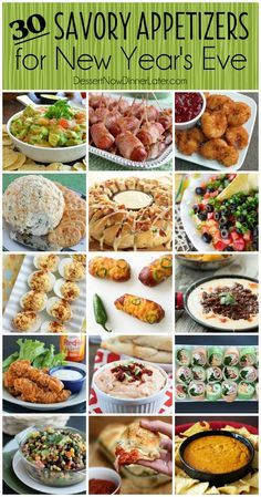 30 Savory Appetizers for New Year's Eve - from chips and dip, to shrimp, roll-ups, or cheesy snacks, you will find something deliciously savory to bring to your New Year's Eve Party!
