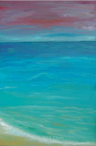 Painting . Acqua, arancione, azzurro, blu, cielo, mare, Natura, nuvole, oceano, orizzonte, Paesaggio marittimo, Rosa, sole, Spiaggia, Tela, tramonto, verde, viola.