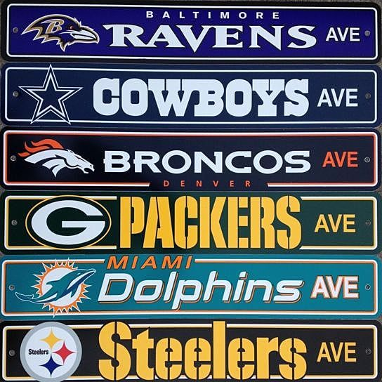 NFL Team Logo Street Sign - All 32 NFL Teams Available from D&M Collectibles