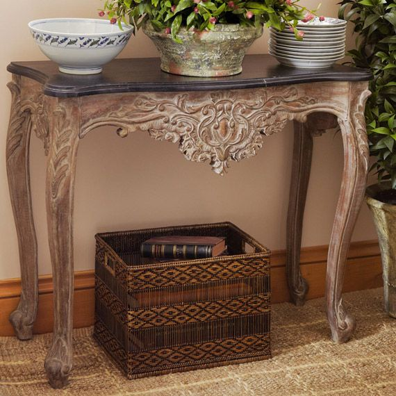 Bourbon Carved Wood Side Table