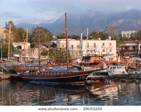 The illegal Kyrenia harbor in North Cyprus under the Turkish Occupation.