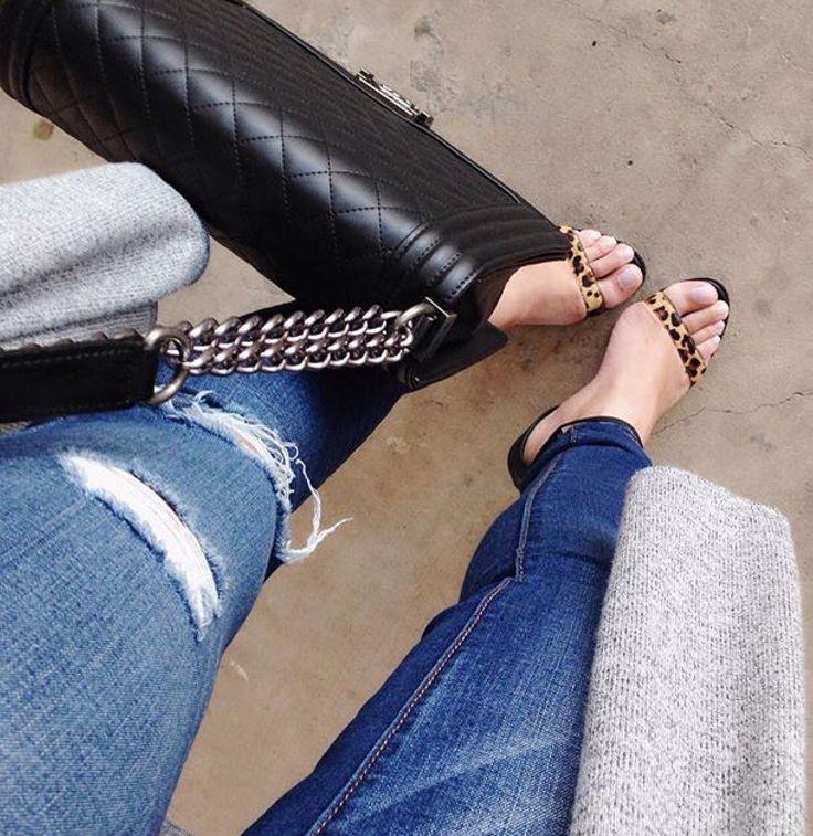 Denim and strappy animal print shoe