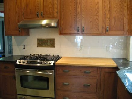 kitchen backsplash ideas for light oak cabinets. subway tile