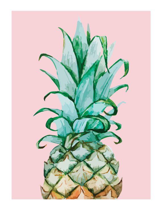 Watercolor Pineapple Print Pineapple Wall Art Pineapple Decor Nursery Wedding…