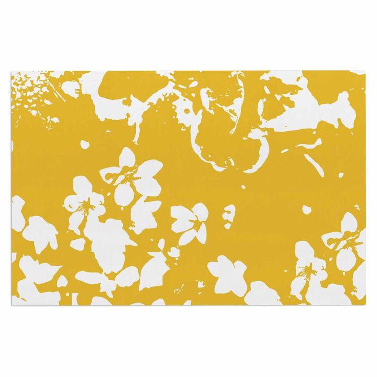"""Love Midge """"Helena Floral Yellow"""" Golden White Decorative Door Mat"""