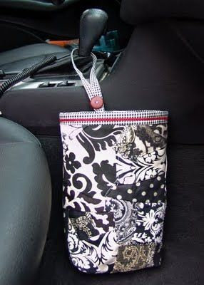 Tutorial for an in-car trash bag -- I need to make one of these! Store-bought one is tacky...