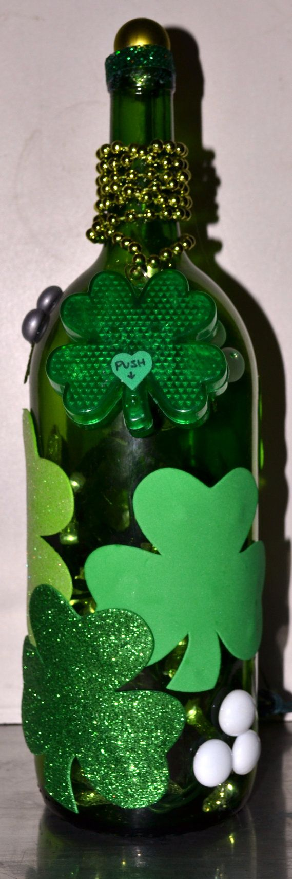 St. Patrick's Day decoration - lights in a decorated wine bottle...or whiskey bottle ;)