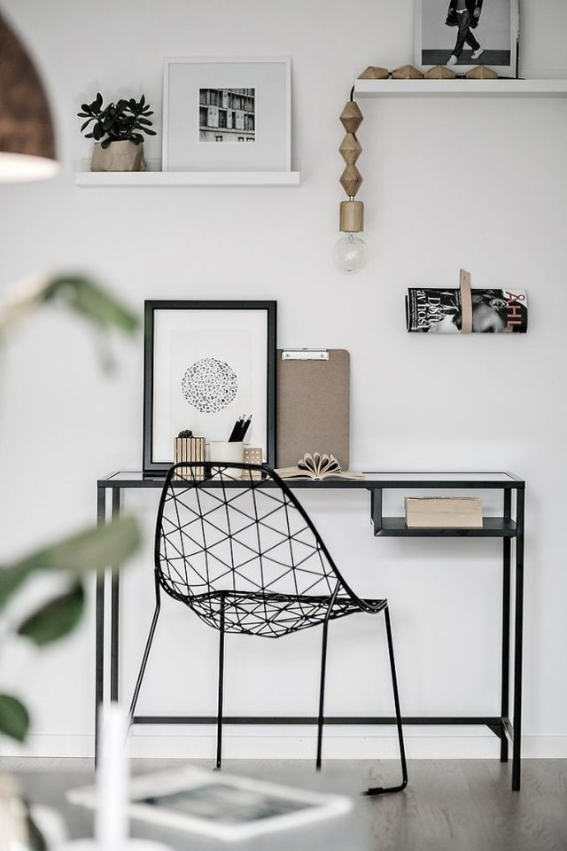 Desk with black wire chair