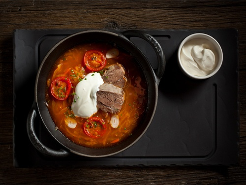 "Borscht: Traditional beet soup,short rib, creme fraiche and warm ""Pampushka"" pie"