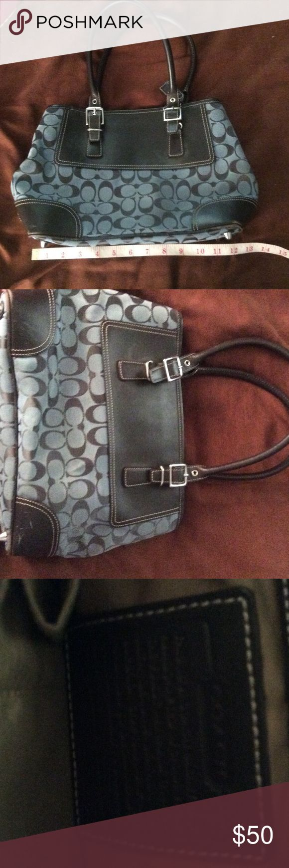 Coach purse, great with jeans Authentic Blue and black signature coach purse, in great condition, some scuffs on leather bottom sides but all in all very clean Coach Bags Hobos