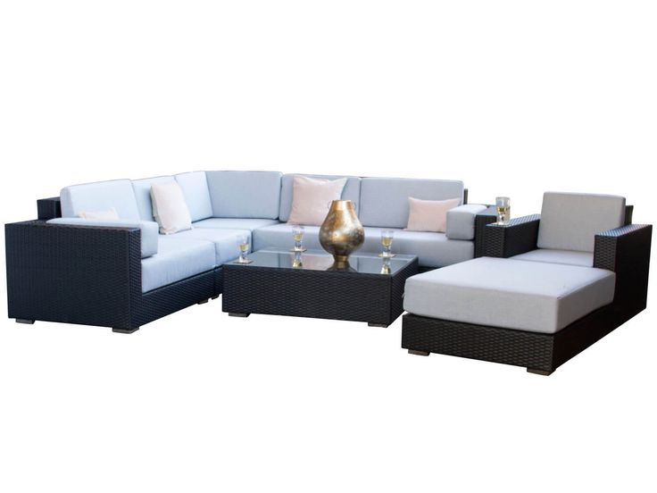 Ideal Siena Black Rattan Garden Corner Sofa Set from Alexander Francis Garden Furniture