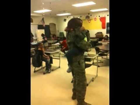 """[VIDEO] Daughter Runs Hysterically Into Military Father's Arms     """"My husband came home today from Afghanistan having been there a year. We decided to surprise our daughter at school!""""    -Jennifer S."""