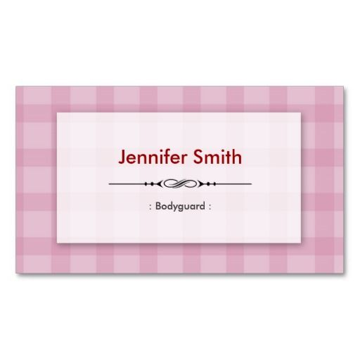 Bodyguard pretty pink squares double sided standard for Bodyguard business cards