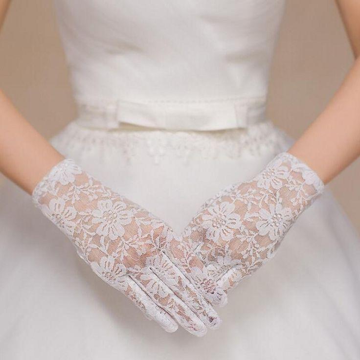 Ivory or Black or Red Short Lace Wedding Gloves Women Hand Bridal Bride Gloves with Finger
