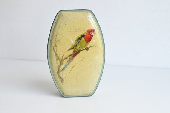 Budgerigar tin box blue Sharp's England by itsvintageindeed