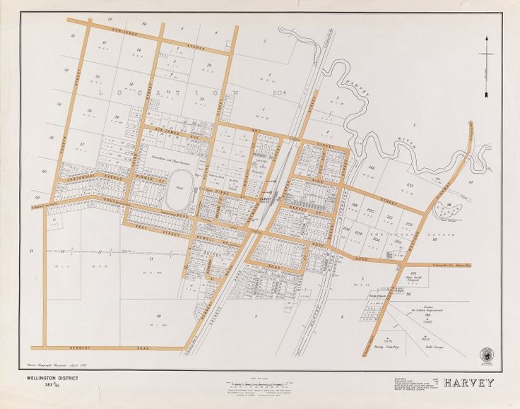 """HARVEY  Cadastral map showing land use and zoning. Shows locations, Korijekup lots, Titles Office subdivision lots, and made roads shaded. """"Wellington District 383D/40"""" """"April 1947"""" Part of collection: Townsite maps, Western Australia. https://encore.slwa.wa.gov.au/iii/encore/record/C__Rb1894244"""